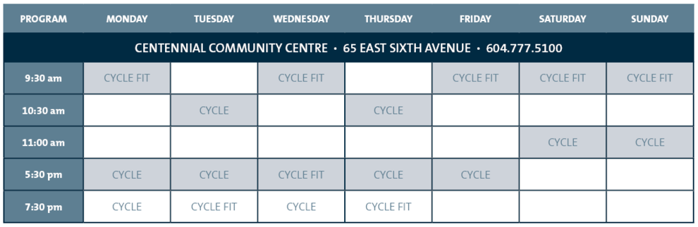 Summer Indoor Cycling Schedule
