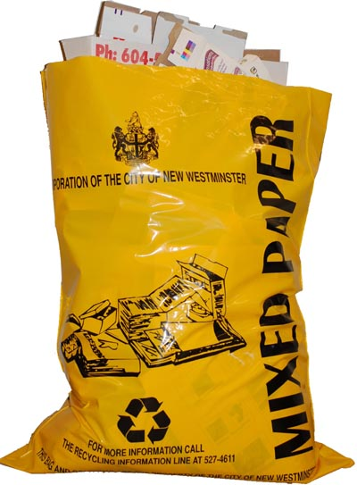 Waxed Paper Bags on The Yellow Bag Is Used To Recycle Mixed Paper Products Such As